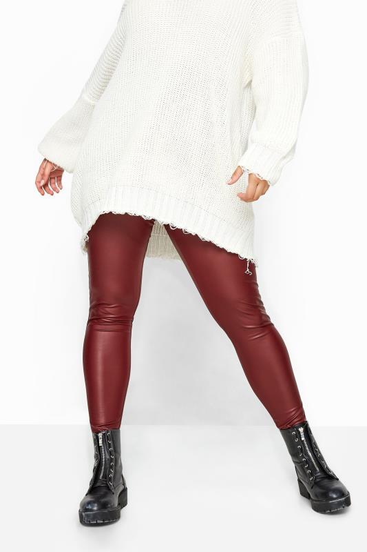 Burgundy Coated Look Leggings