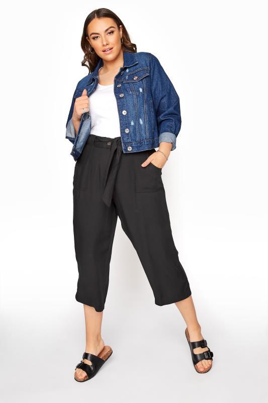 Großen Größen  Black Belted Crop Trousers