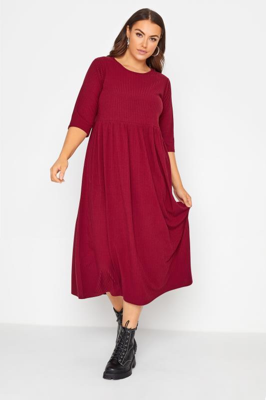 Großen Größen  LIMITED COLLECTION Wine Red Ribbed Midi Dress