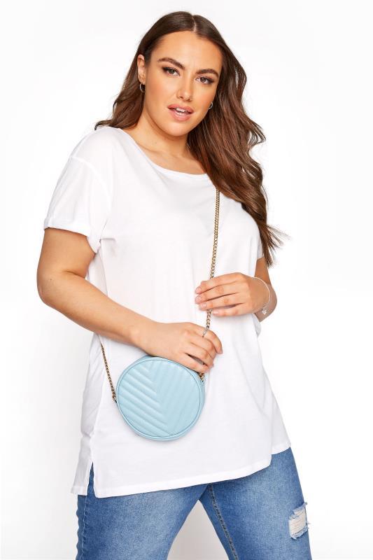 Tallas Grandes Blue Quilted Circle Chain Bag