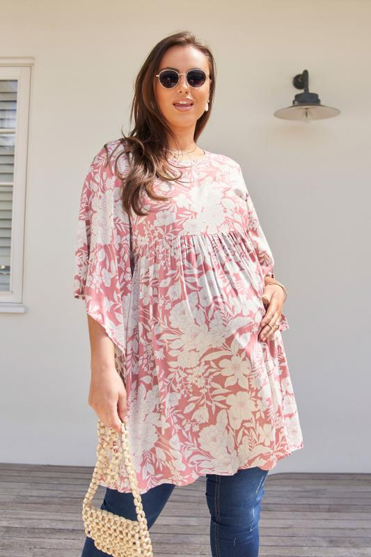 BUMP IT UP MATERNITY Pink Floral Smock Tunic_lifestyle.jpg