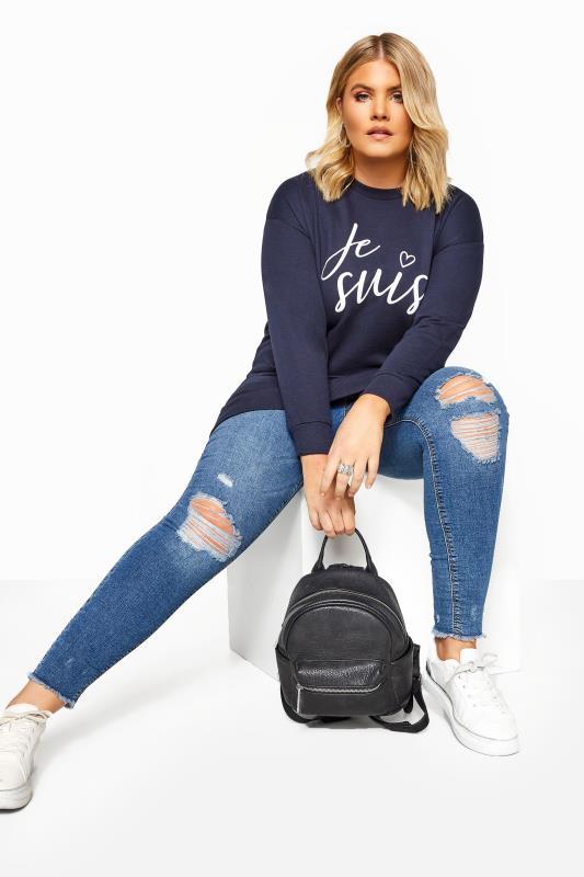Navy 'Je Suis' Slogan Sweatshirt