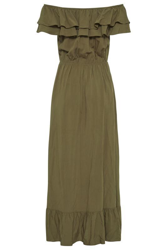 LTS Khaki Double Frill Bardot Midi Dress_BK.jpg