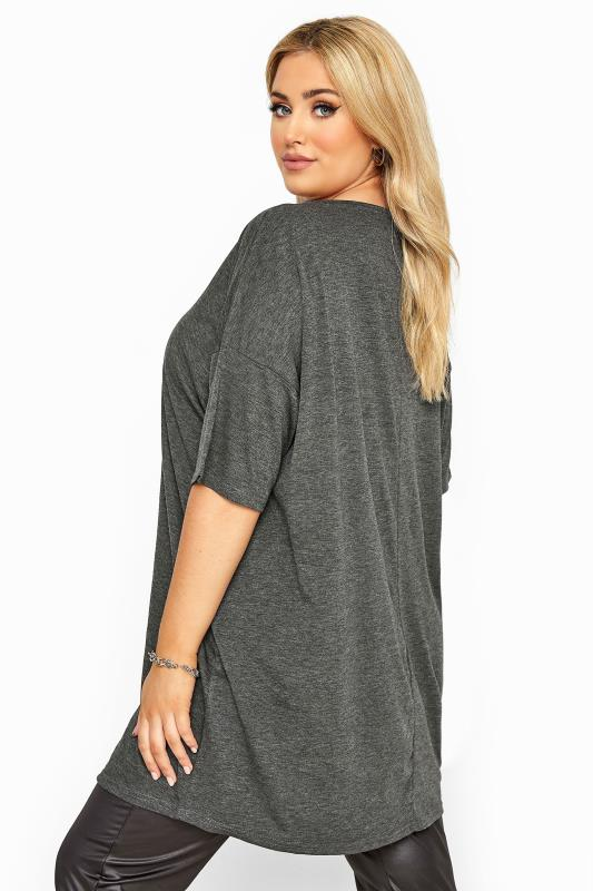 Charcoal Grey Jersey Oversized T-Shirt