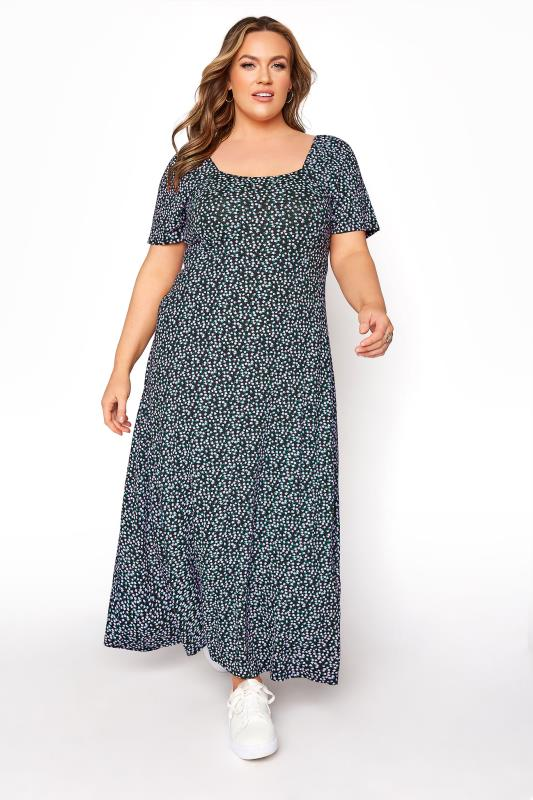 LIMITED COLLECTION Black Ditsy Floral Square Neck Maxi Dress_B.jpg