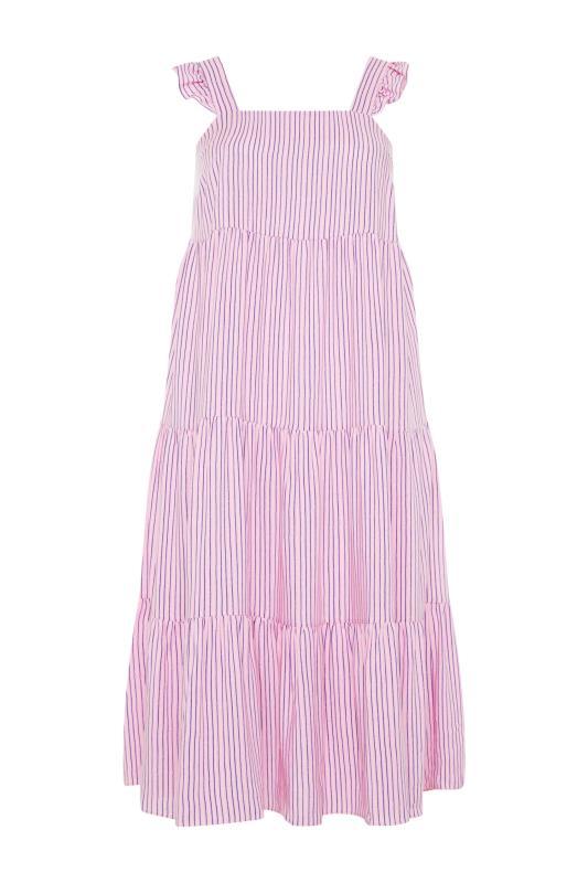 YOURS LONDON Pink Stripe Frill Tiered Midi Dress_F.jpg