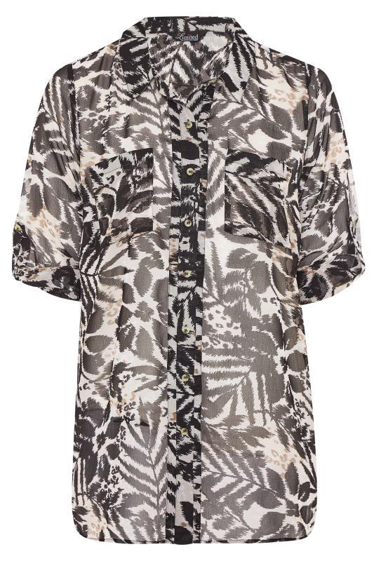 LIMITED COLLECTION Black & White Mixed Animal Print Boyfriend Shirt