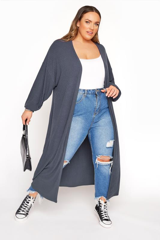 LIMITED COLLECTION Grey Ribbed Long Cardigan