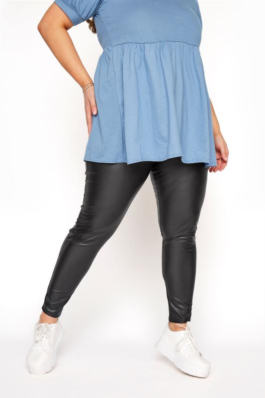 Black Ring Zip Leather Look Leggings