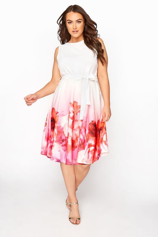Plus Size  YOURS LONDON Pink Border Floral Skater Dress