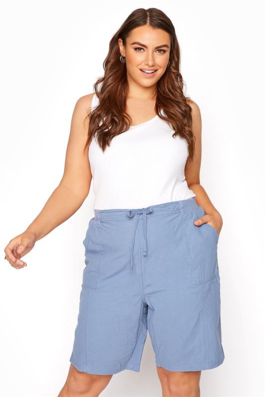 Plus Size Cool Cotton Shorts Cornflower Blue Cool Cotton Pull On Shorts