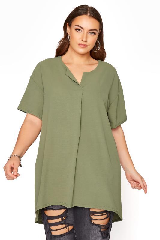 Plus Size  YOURS LONDON Green Pleat Front Blouse