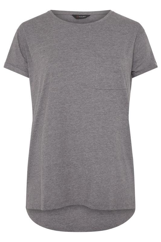 Grey Marl Pocket Dipped Hem T-Shirt