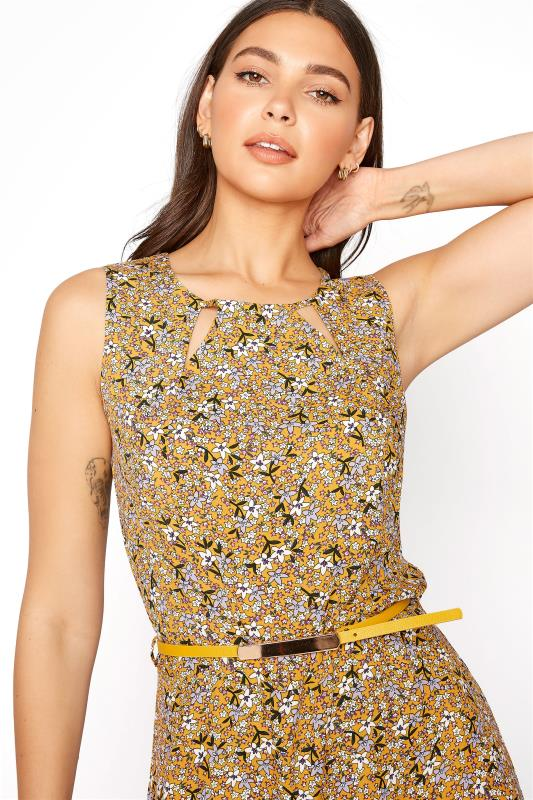 LTS Yellow Ditsy Sleeveless Fitted Maxi Dress_D.jpg