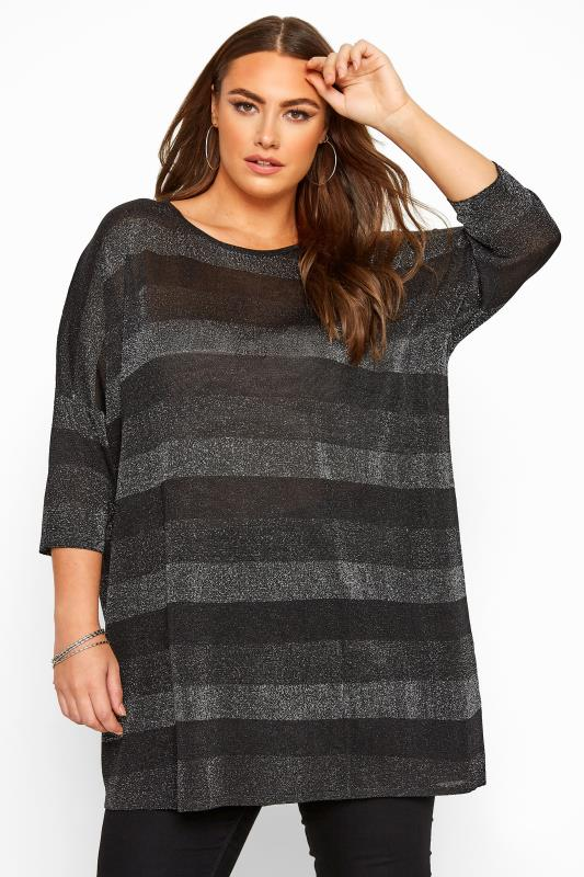 Plus Size Knitted Tops & Jumpers Black Stripe Metallic Longline Knitted Top