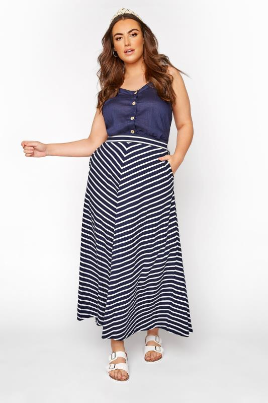 Plus Size Maxi Skirts Navy Chevron Maxi Skirt