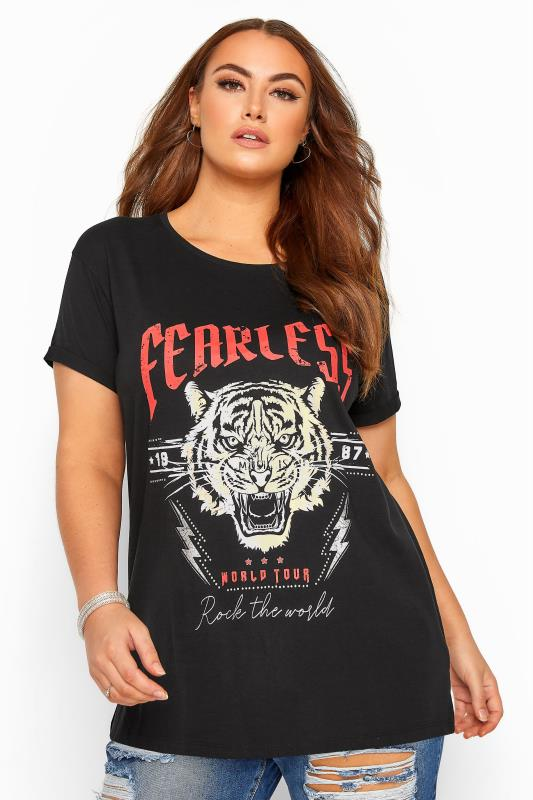 Plus Size T-Shirts Black 'Fearless' Slogan Tiger Print Top