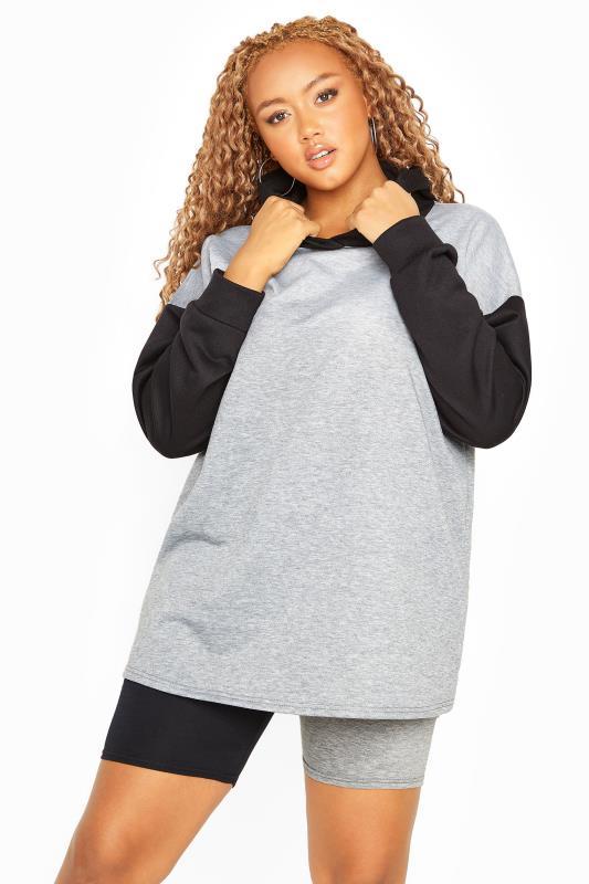 Plus Size  Black & Grey Contrast Hoodie