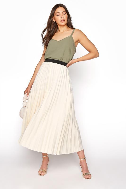 Tall  LTS Ivory Pleated Midi Skirt