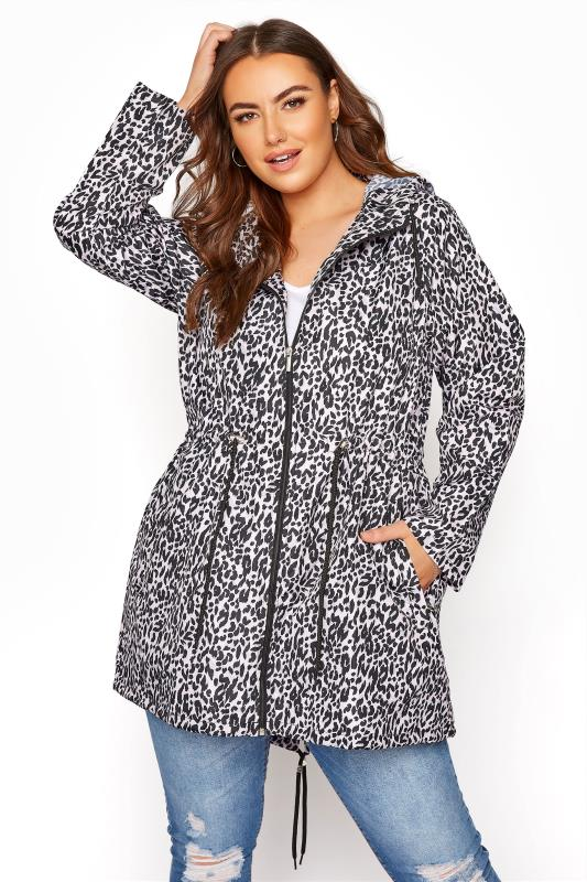 Plus Size  Pink Animal Print Pocket Parka
