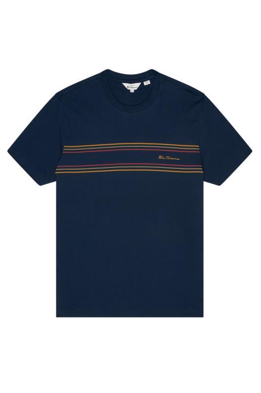 Plus Size  BEN SHERMAN Navy Chest Stripe Logo T-Shirt