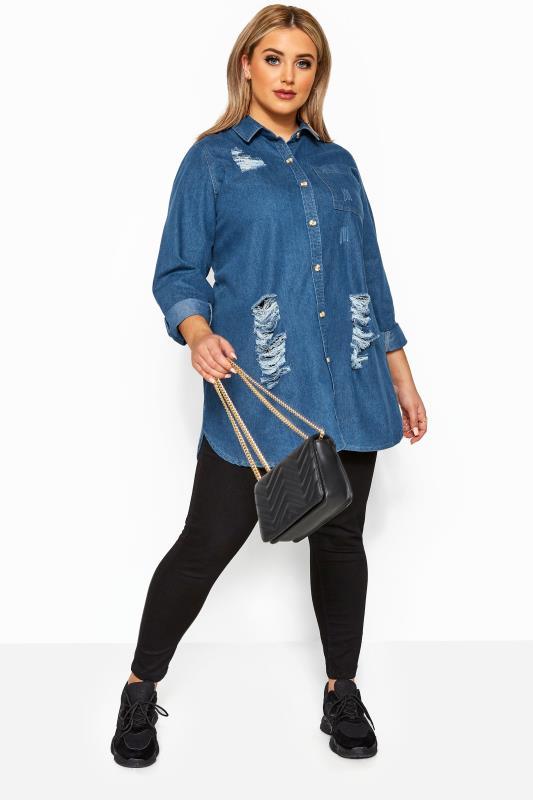 Mid Blue Distressed Denim Shirt