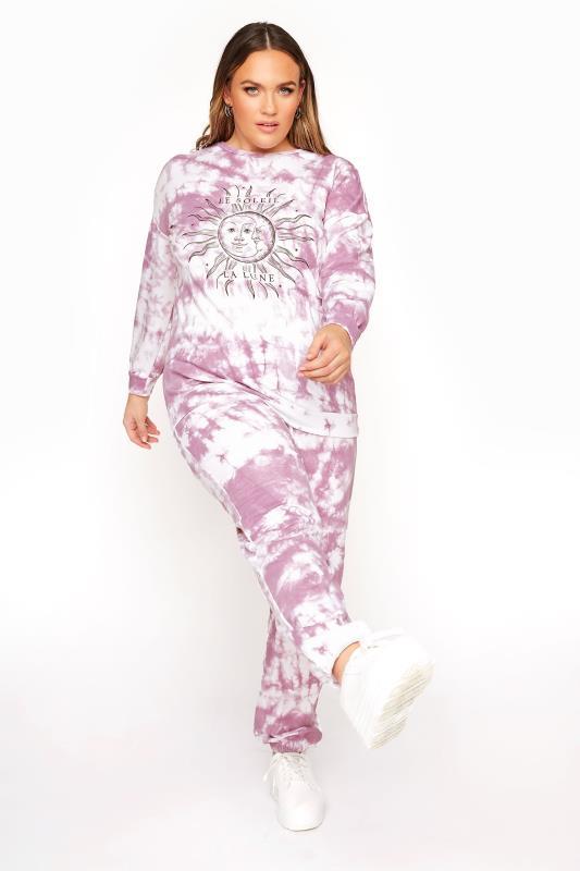 Plus Size  LIMITED COLLECTION Purple 'Le Soleil' Tie Dye Sweatshirt