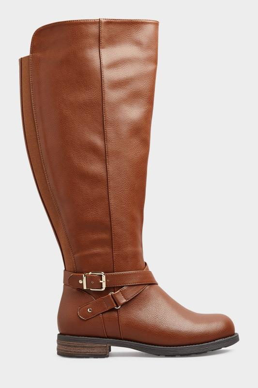 Brown Faux Leather Buckle Knee High Boots In Extra Wide Fit_A.jpg