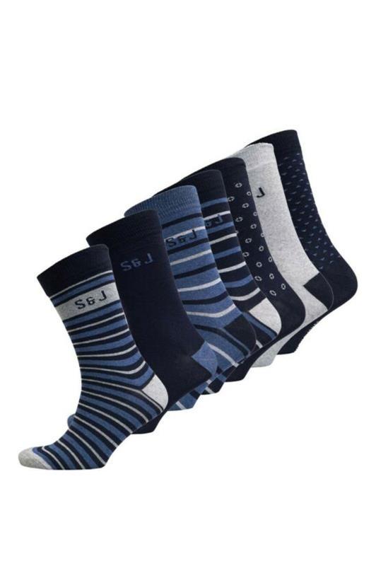 Plus Size  SMITH & JONES Navy Multi Rocco Socks 7 Pack