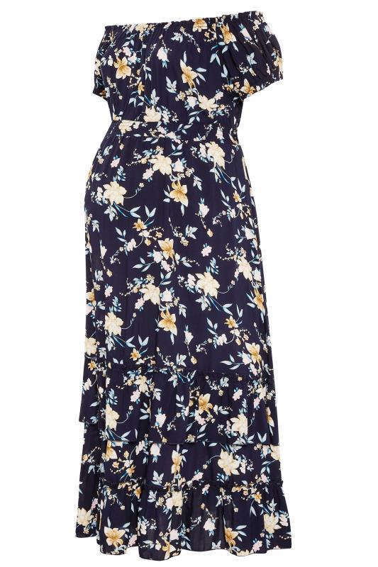 BUMP IT UP MATERNITY Navy Floral Bardot Maxi Dress_F.jpg
