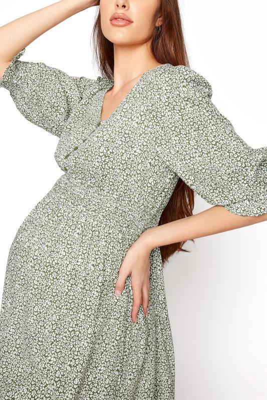 LTS Maternity Sage Green Ditsy V-Neck Button Tiered Midi Dress_D.jpg