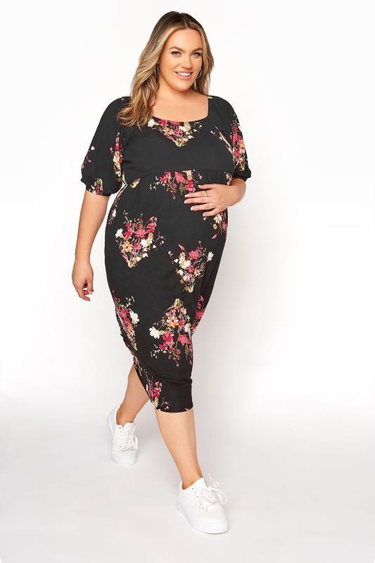 BUMP IT UP MATERNITY Black Floral Milkmaid Midi Dress_A.jpg