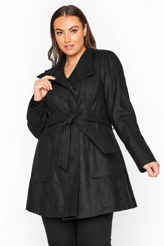 Plus Size  Black Belted Coat