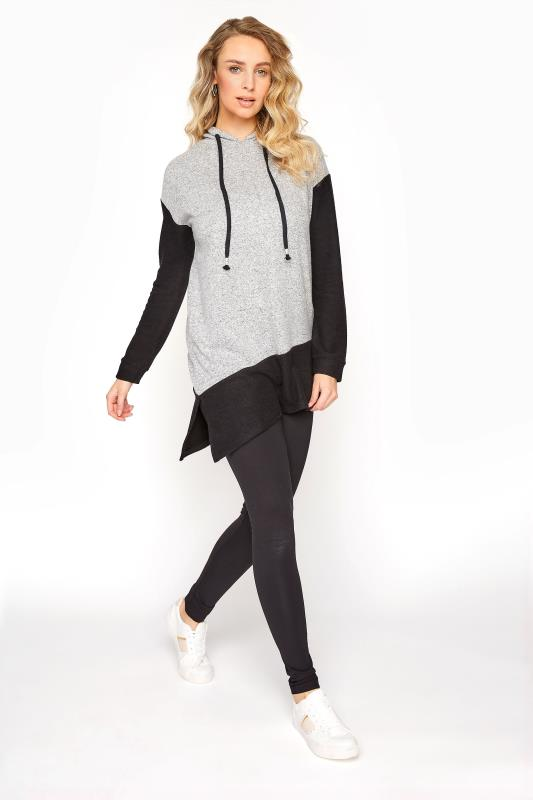 Tall  LTS Grey Colour Block Soft Touch Hoodie