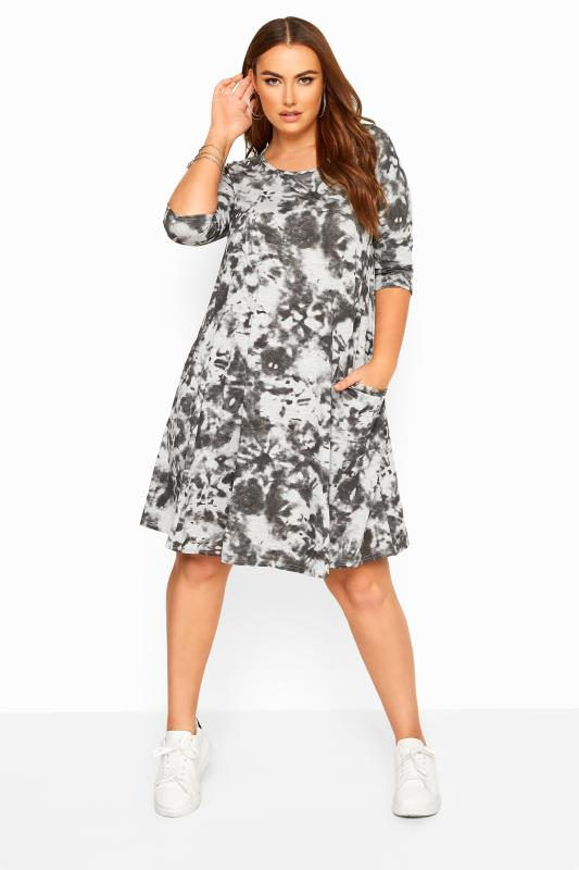 Plus Size Swing Dresses Grey Tie Dye Drape Pocket Dress