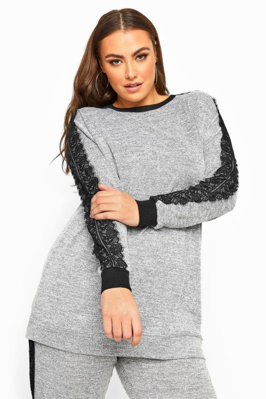 Plus Size Sweatshirts LIMITED COLLECTION Grey Marl Lace Tape Knitted Sweatshirt