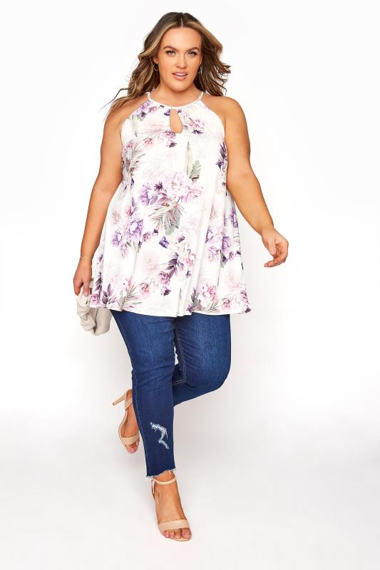 YOURS LONDON White Tropical Print Keyhole Top