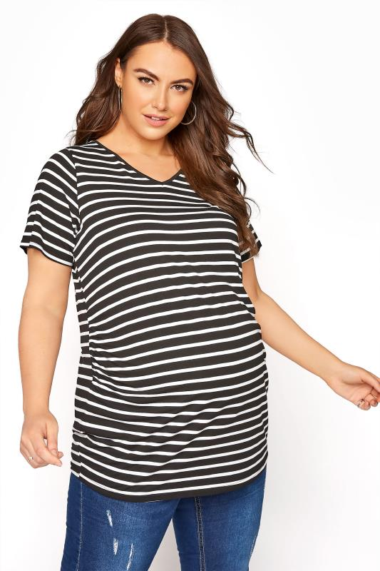 Plus Size  BUMP IT UP MATERNITY Black Stripe Short Sleeve T-Shirt