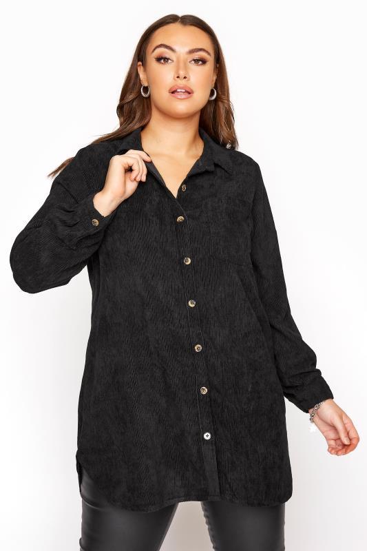 Schwarzes Langarmhemd aus Kord