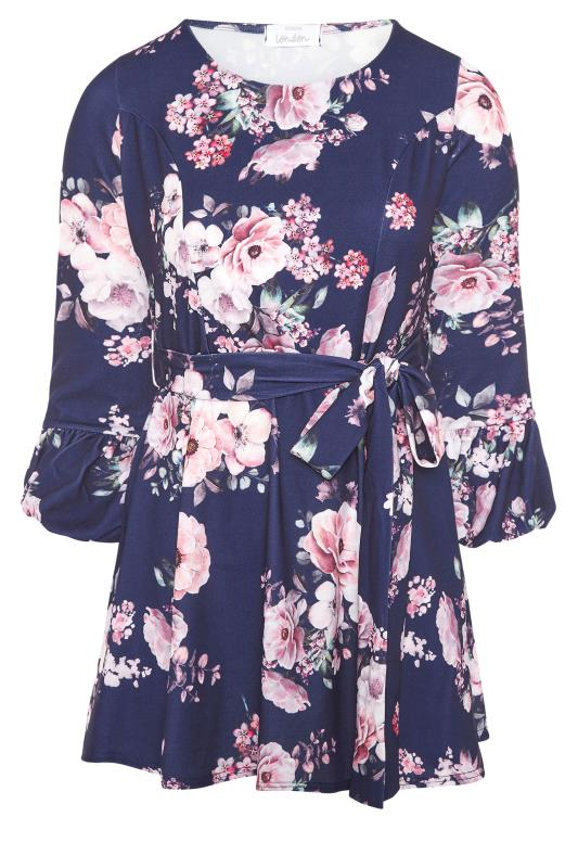 YOURS LONDON Blue Floral Bubble Cuff Peplum Top_F.jpg