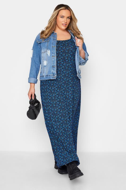 LIMITED COLLECTION Cobalt Blue Ditsy Maxi Dress_B.jpg