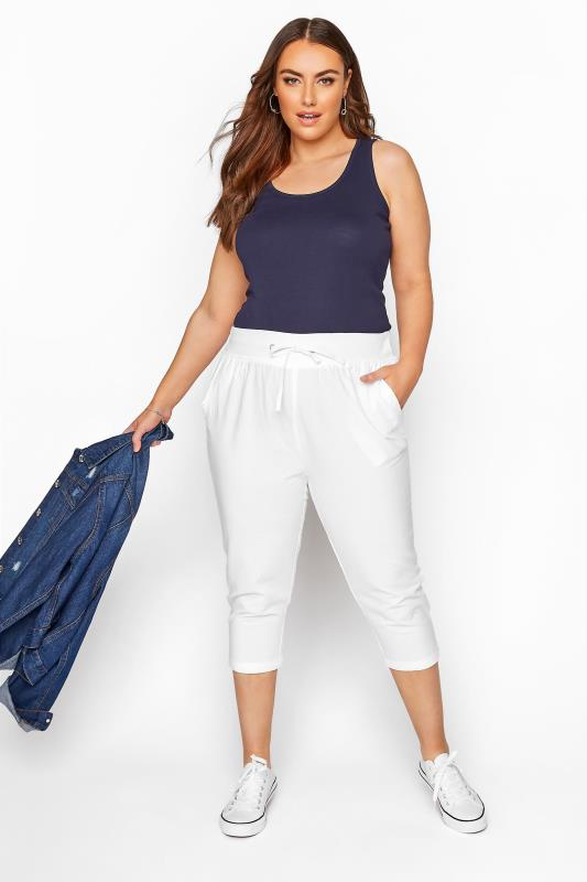 Plus Size  White Cool Cotton Cropped Joggers