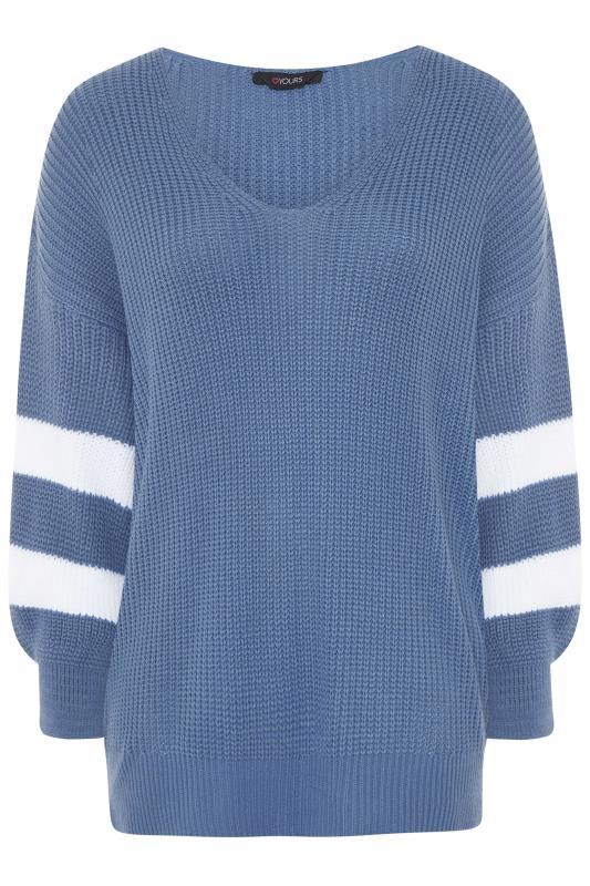 Blue Varsity Stripe Knitted Jumper_F.jpg