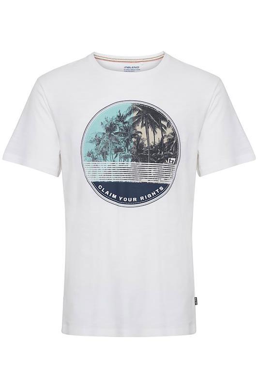Plus Size  BLEND White Palm Print T-Shirt