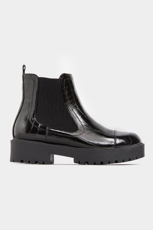 LIMITED COLLECTION Black Patent Croc Platform Chelsea Boots In Wide Fit_B.jpg