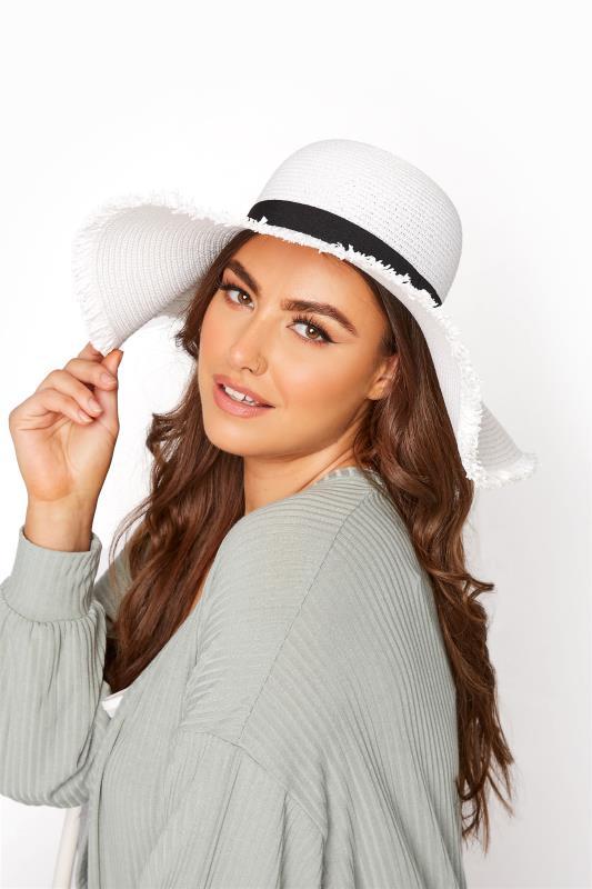 Plus Size  White Frayed Edge Straw Hat