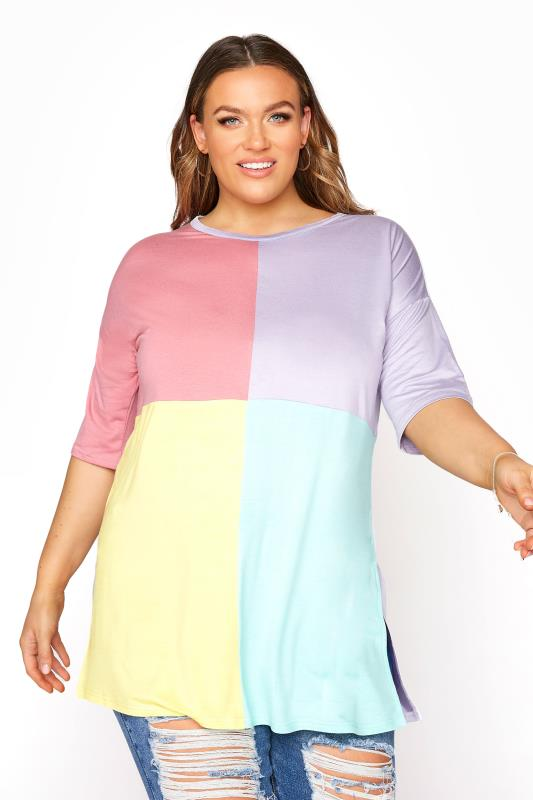 Plus Size  Multi Pastel Oversized Colour Block T-Shirt