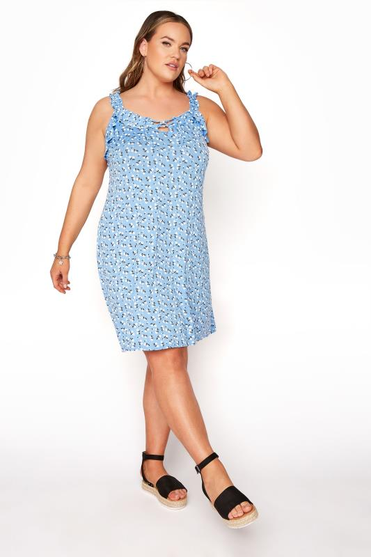 LIMITED COLLECTION Blue Floral Strappy Frill Dress_B.jpg