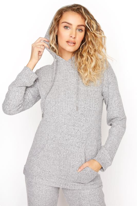LTS Grey Long Sleeve Ribbed Pocket Hoodie