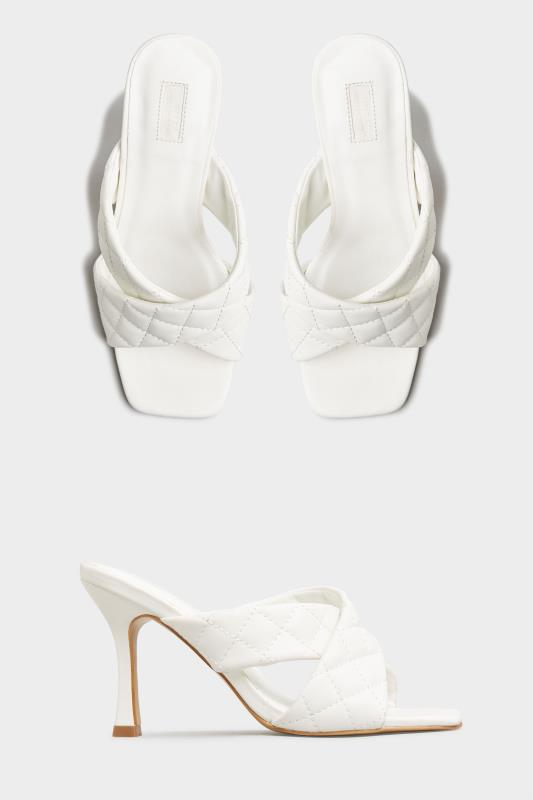 LIMITED COLLECTION White Cross Quilted Stiletto Mules In Extra Wide Fit_split.jpg